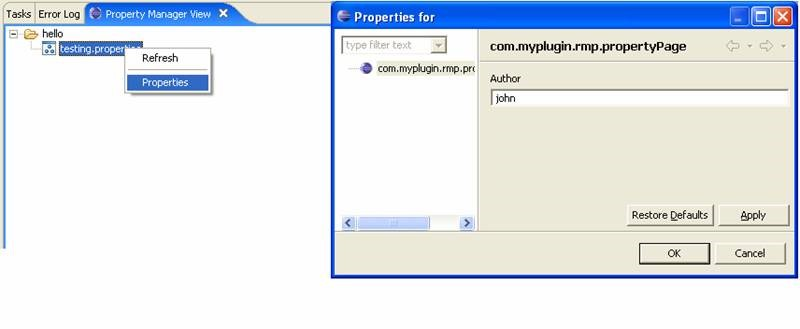Eclipse plugin displaying properties in properties view