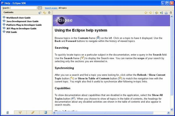 Using Eclipse Help System