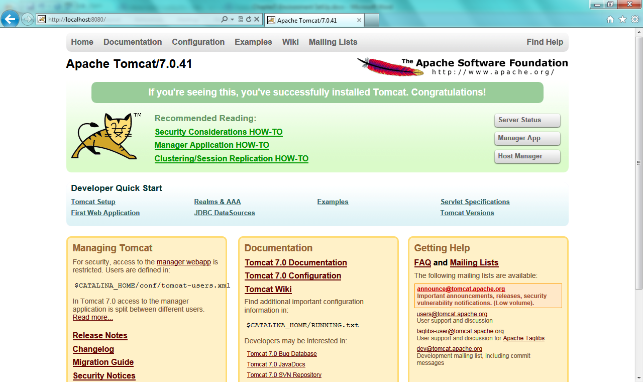 Fig - Verify apache tomcat