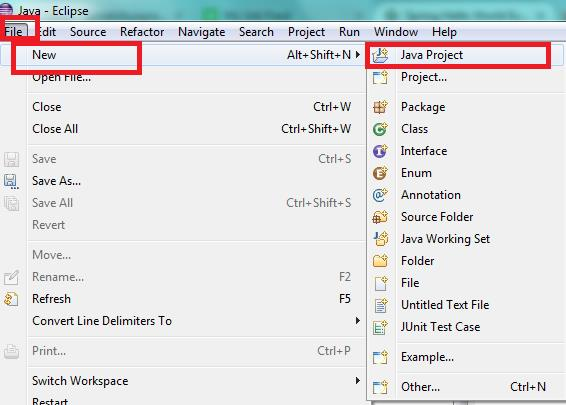 Create Java Project on Eclipse