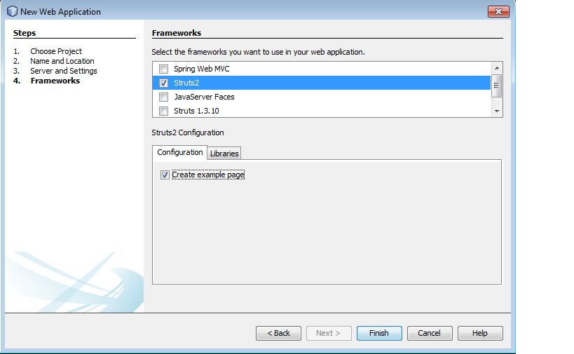 Figure : Creating new Project in NetBeans 8.0 (IV) – Selecting framework