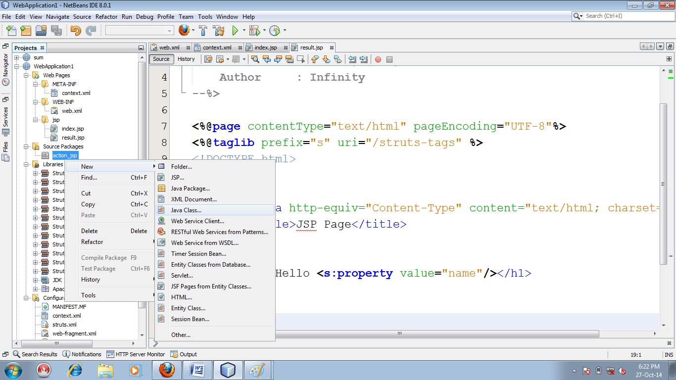 Figure : Creating action file(hello_action.java)
