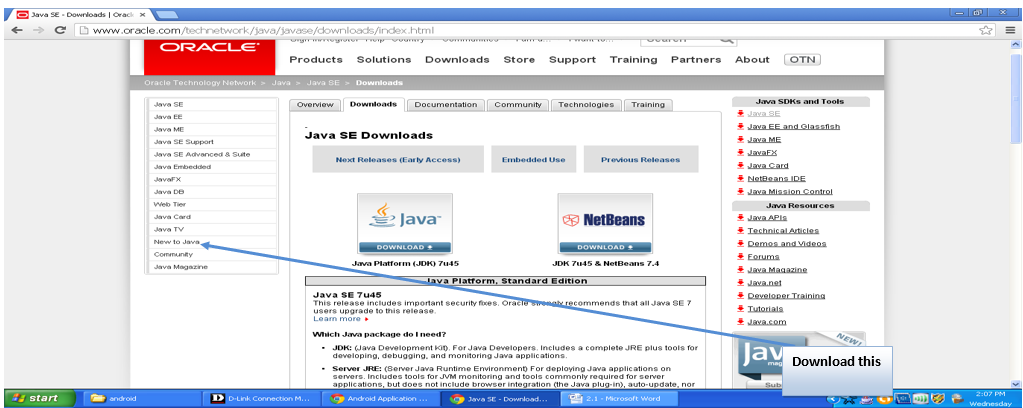 Installing JDK: Home page of oracle.com