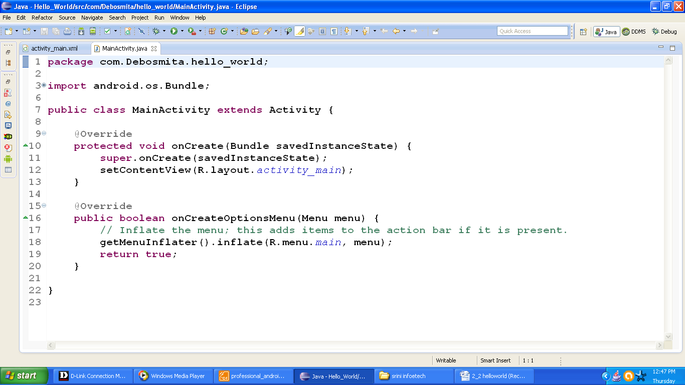 Figure java file of HelloWorld app