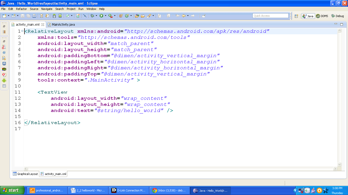 Figure xml file of HelloWorld app