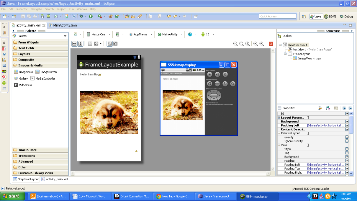 Snapshot of FrameLayout example on emulator