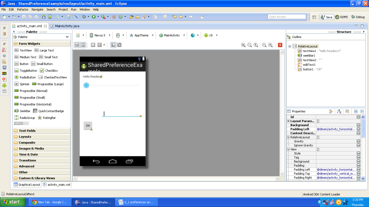 Graphical layout of Android Shared Preferences example