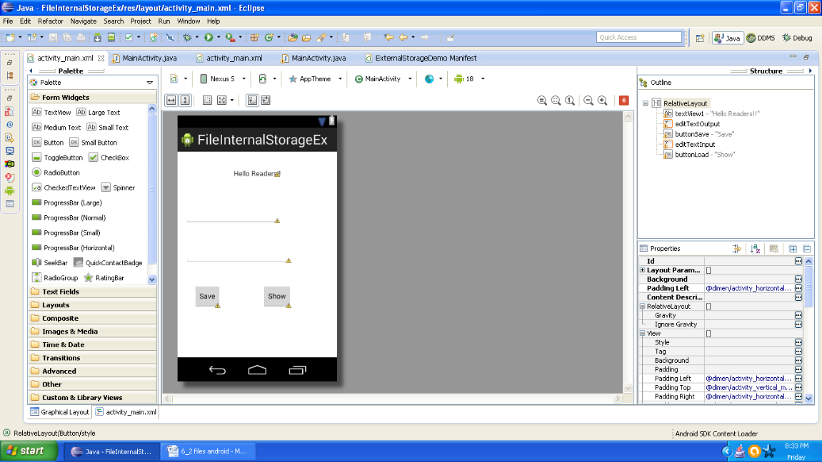 Graphical layout of Android Internal Storage Example
