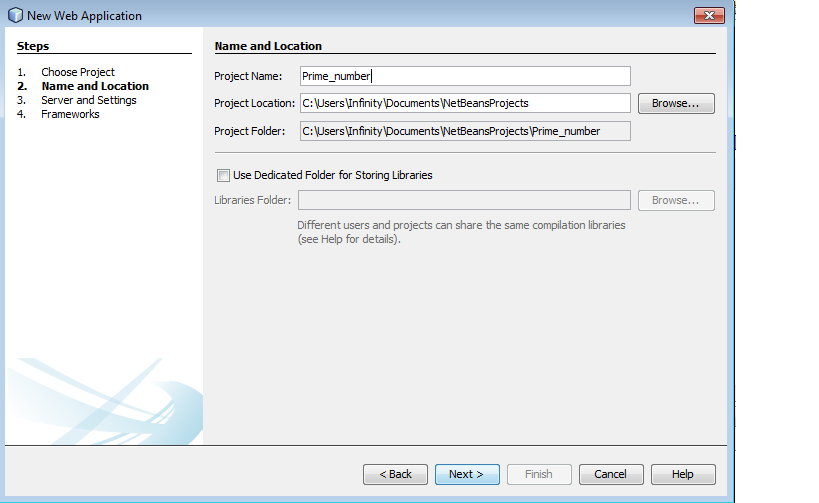 Figure : Creating new Project in NetBeans 8.0 (II) – Naming and saving project.