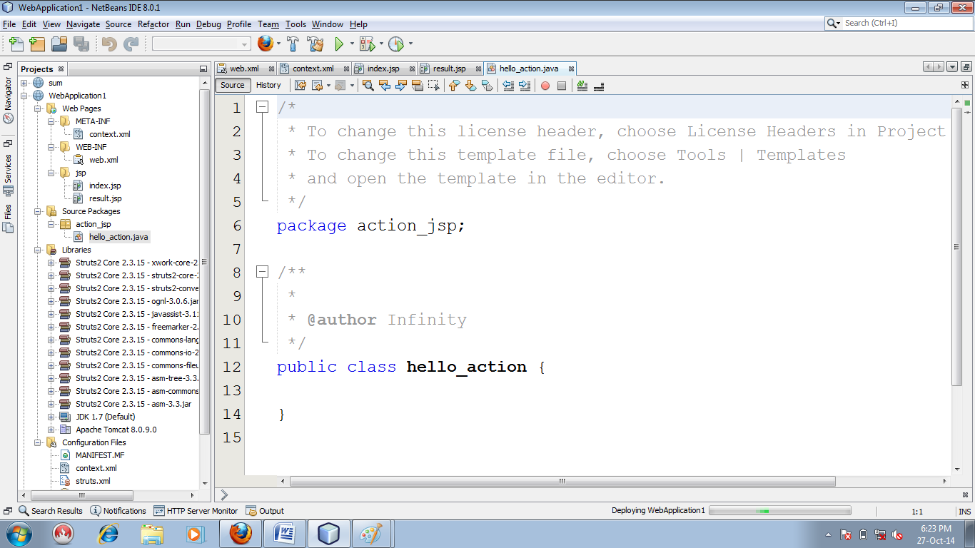 Figure : Layout of action file (hello_action.java)