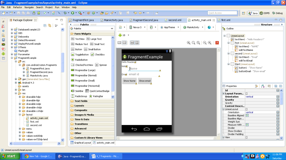 Graphical layout of First Android fragment